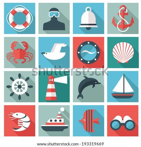 marine icons - stock vector