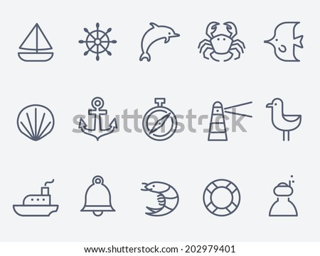 Marine icons - stock vector