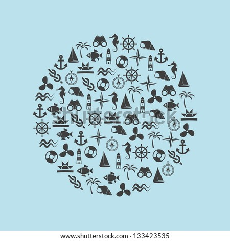marine icons in circle - stock vector