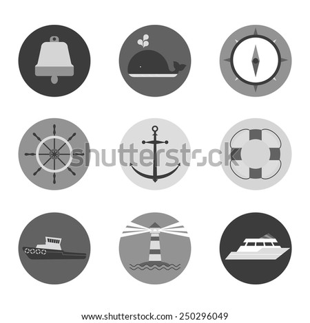 Marine icons in circles. monochrome version - stock vector