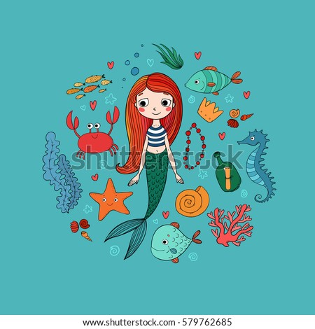 Marine illustrations set. Little cute cartoon mermaid, funny fish, starfish, bottle with a note, algae, various shells and crab. Sea theme. Vector.