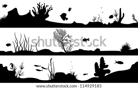 marine landscape set isolated on white - stock vector