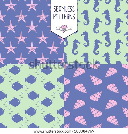 Marine life Background Collection - vector seamless patterns on different backgrounds - stock vector