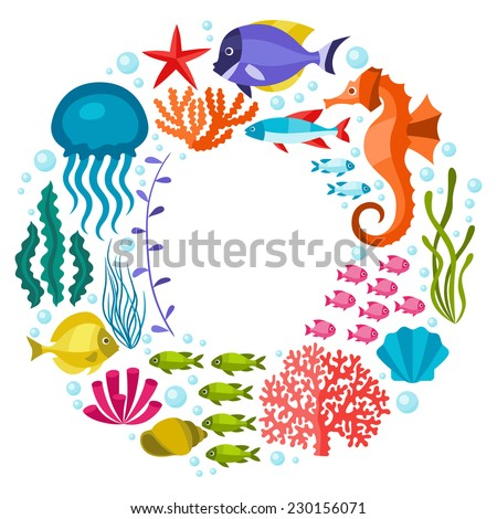 Marine life background design with sea animals. - stock vector