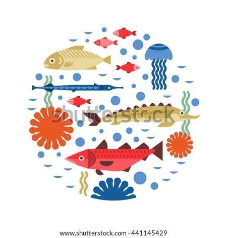 Marine life background design vector fish stock vector for White river fish market menu