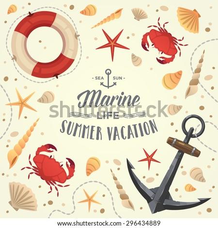 Marine life frame. Summer vacation. Vector illustration.  - stock vector
