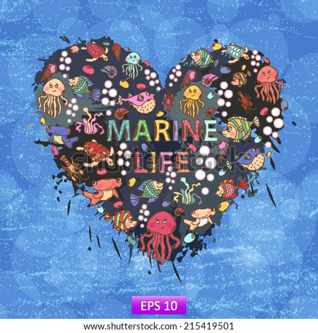 Marine life heart background of colorful blots, inks,themed design with elements - stock vector