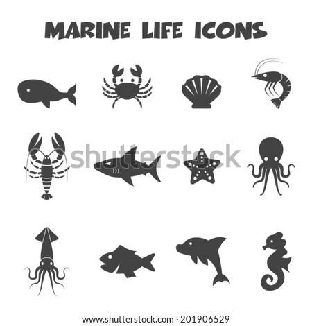 marine life icons, mono vector symbols - stock vector