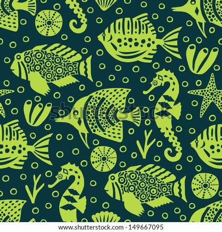 marine life seamless pattern  - stock vector