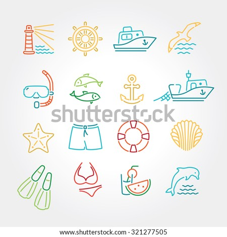 Marine line icon color, logo, logotype - dolphin, lighthouse, seagull, bird, boat, ship, fishing, fish, anchor, starfish, swimsuit, shorts, fins, steering wheel, lifebuoy, watermelon, cocktails, shell - stock vector