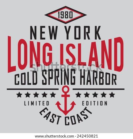 Marine New York typography, t-shirt graphics, vectors - stock vector