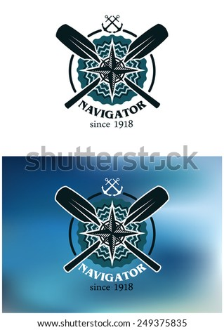 Marine or nautical themed navigator emblem or badge in two color variants with crossed oars, anchors and a compass in a circular frame with text below - stock vector