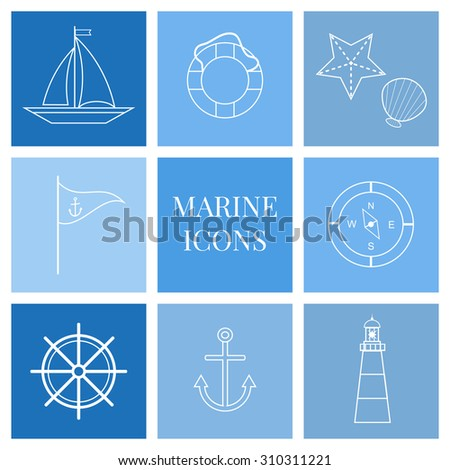 Marine outline icons set. Sea theme. - stock vector