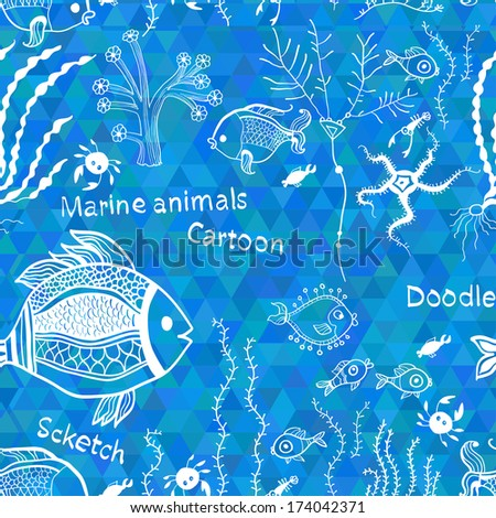 Marine pattern in abstract style. Sea world seamless pattern, under water world wallpaper with fish,octopus and vegetation - stock vector