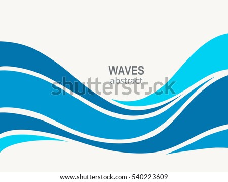 Marine pattern with stylized blue waves. Cosmetics Surf Sport Logotype concept.