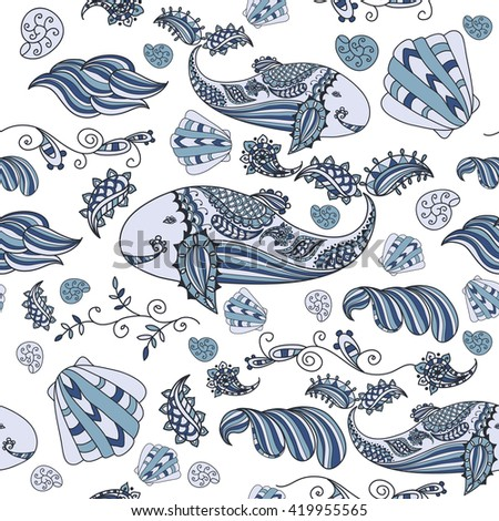 Marine patterns vector. Beautiful doodle. Design elements. Seamless background.