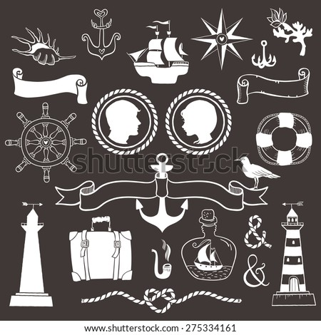 Marine romantic travel. Vintage hand drawn elements in nautical style. - stock vector