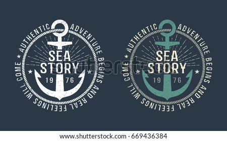 Marine round retro emblem in hipster style with anchor and inscriptions. Monochrome and color versions on a dark background. Worn texture on a separate layer and can be disabled.