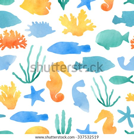 Marine seamless pattern. Vector illustration of tropical fish, shells, corals and other marine life, drawn by hand. Watercolor texture. - stock vector
