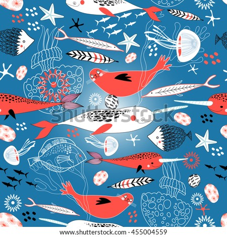 Marine seamless pattern with seals and whales on a blue background - stock vector