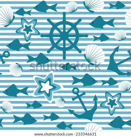 Marine seamless pattern with strips - stock vector
