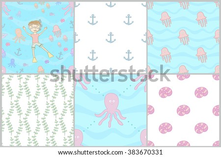 Marine set of seamless patterns - stock vector
