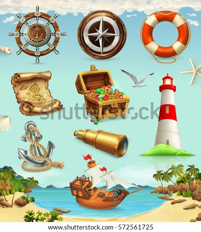Marine set. Summer vacation, 3d vector icons