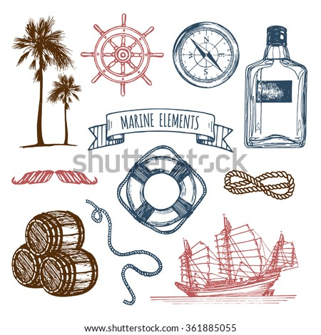 Marine set. Vector nautical elements. Hand sketched sea illustrations. Vintage pirate adventures signs. Maritime design collection. Seaside background. Hand drawn naval series. - stock vector