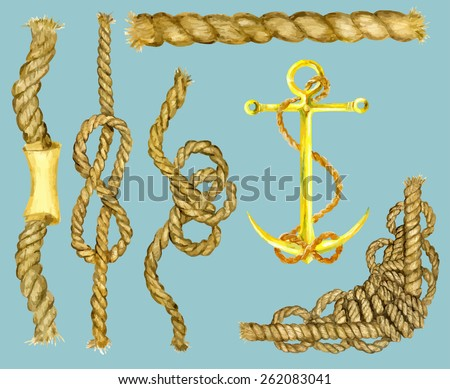 Marine set with ropes, nautical knots and anchor, hand drawn watercolor illustration