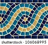 Marine style blue wave mosaic seamless pattern background. Vector file layered for easy manipulation and custom coloring. - stock photo