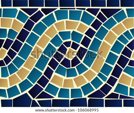 Marine style blue wave mosaic seamless pattern background. Vector file layered for easy manipulation and custom coloring. - stock vector