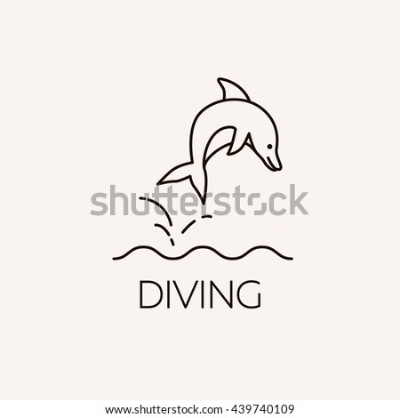 Marine symbol. Diving and underwater object. Summer concept illustration - dolphin jumping out of the water.