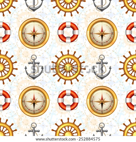 Marine symbols seamless pattern with steering wheel anchor lifebuoy and compass vector illustration - stock vector
