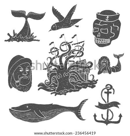 Marine themes & tattoo. Sailor. Ocean. Octopus. Whale. Skull. Anchor. Vector illustration in doodle style. - stock vector