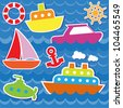 Marine transport stickers. Vector set - stock vector