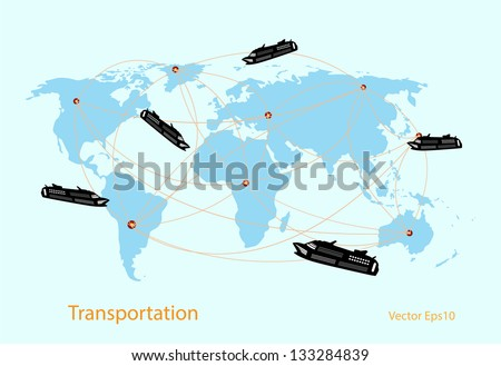 Marine transportation wit world map vector - stock vector