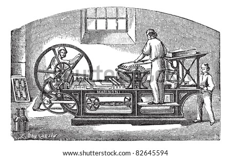Marinoni printing press, vintage engraving. Old engraved illustration of Marinoni printing press with three workers operating it.  Trousset encyclopedia (1886 - 1891). - stock vector