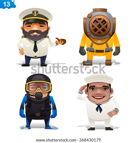 Maritime professions - stock vector