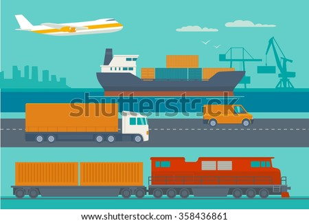 Maritime rail and air transport delivery services.  Ship, truck, car, train, airplane. Wide flat vector illustration for logistics business, info graphic, web, banners, presentations. - stock vector