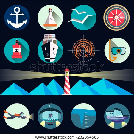 Maritime set icon in flat style design - stock vector