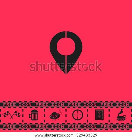 Mark pointer. Black flat vector icon and bonus symbol - Racing flag, Beer mug, Ufo fly, Sniper sight, Safe, Train on pink background - stock vector
