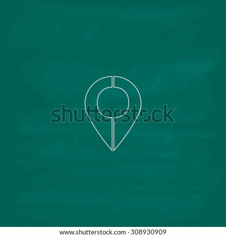 Mark pointer. Outline vector icon. Imitation draw with white chalk on green chalkboard. Flat Pictogram and School board background. Illustration symbol - stock vector
