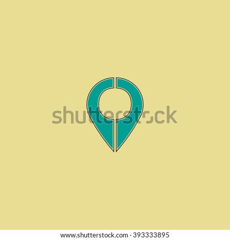 Marker Flat line icon on yellow background. Vector pictogram with stroke - stock vector