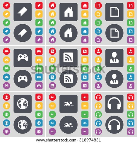 Marker, House, File, Gamepad, RSS, Avatar, Globe, Swimmer, Headphones icon symbol. A large set of flat, colored buttons for your design. Vector illustration - stock vector
