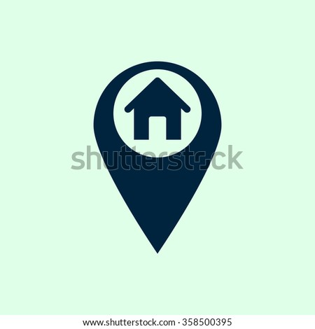 Marker location icon with house