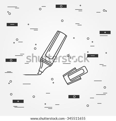 Marker pen Icon. Marker pen Icon Vector.Marker pen Icon Drawing. Marker pen Image. Marker pen  Icon  - stock vector. Think line icon modern minimalistic design. - stock vector
