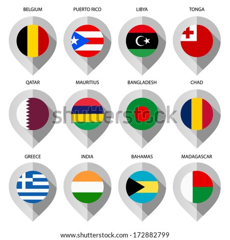 Markers from paper with flag for map - set ninth - stock vector