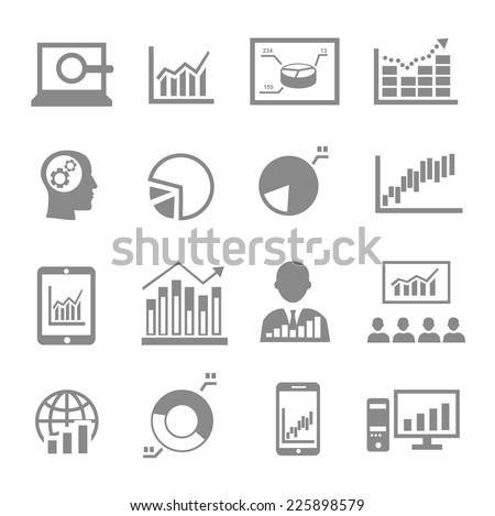Market analysis, diagrams icons black on white - stock vector