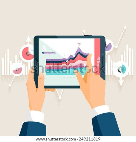 Market analysis. Flat design. - stock vector
