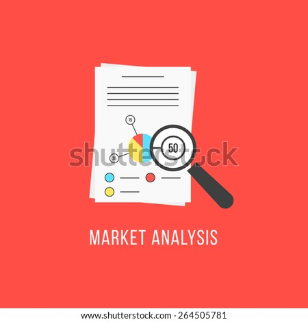 market analysis with sheets and magnifier. concept of financial forecast, e-management, e-marketing, brainstorm, statistic seo. isolated on red background. flat style modern design vector illustration - stock vector